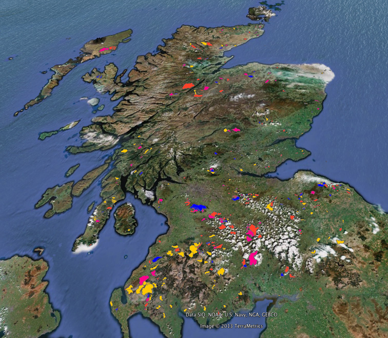 Google Earth map of Scotland showing wind farm locations using date provided by SNH. © Crown copyright and database right. 2013. All rights reserved.