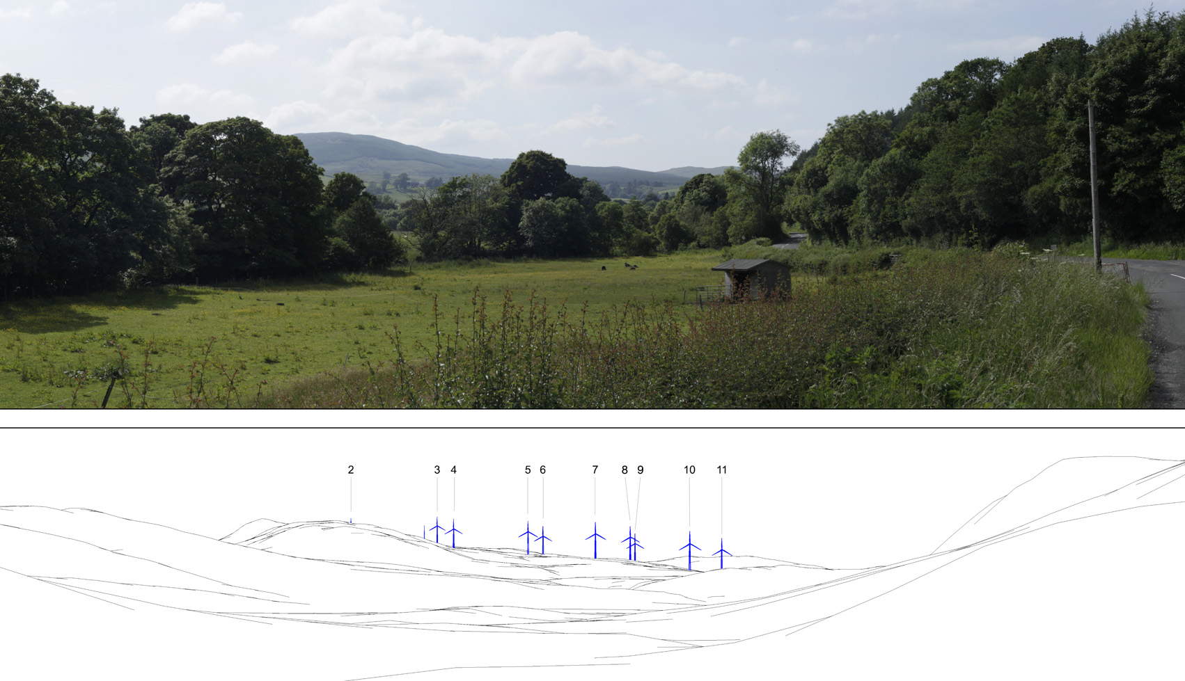 A view of the proposed site with wireframe diagram below of how the turbines would deface the beautiful scenery.