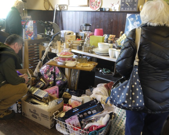 Bric-a-brac stall at the jumble sale