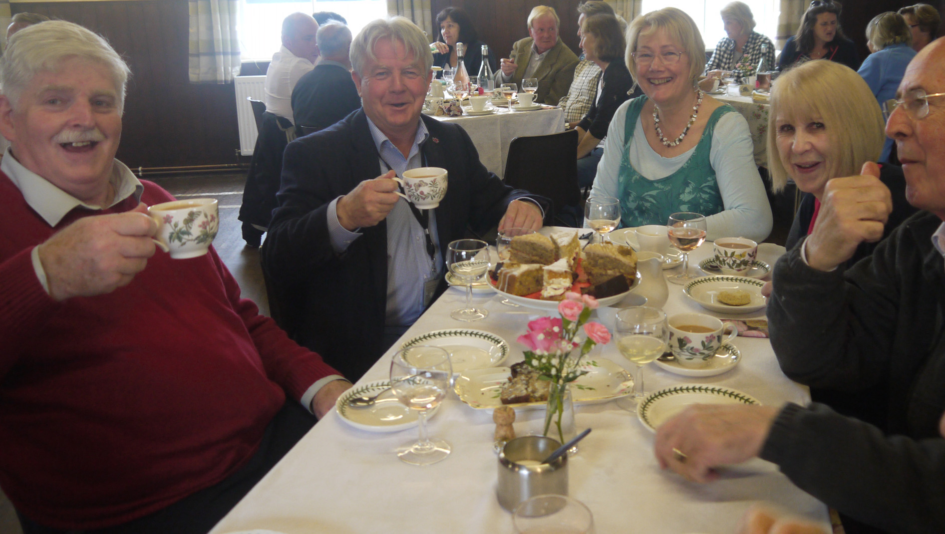 Henry Anderson, Bill Grant MP, and Barbara Anderson at the Afternoon Tea